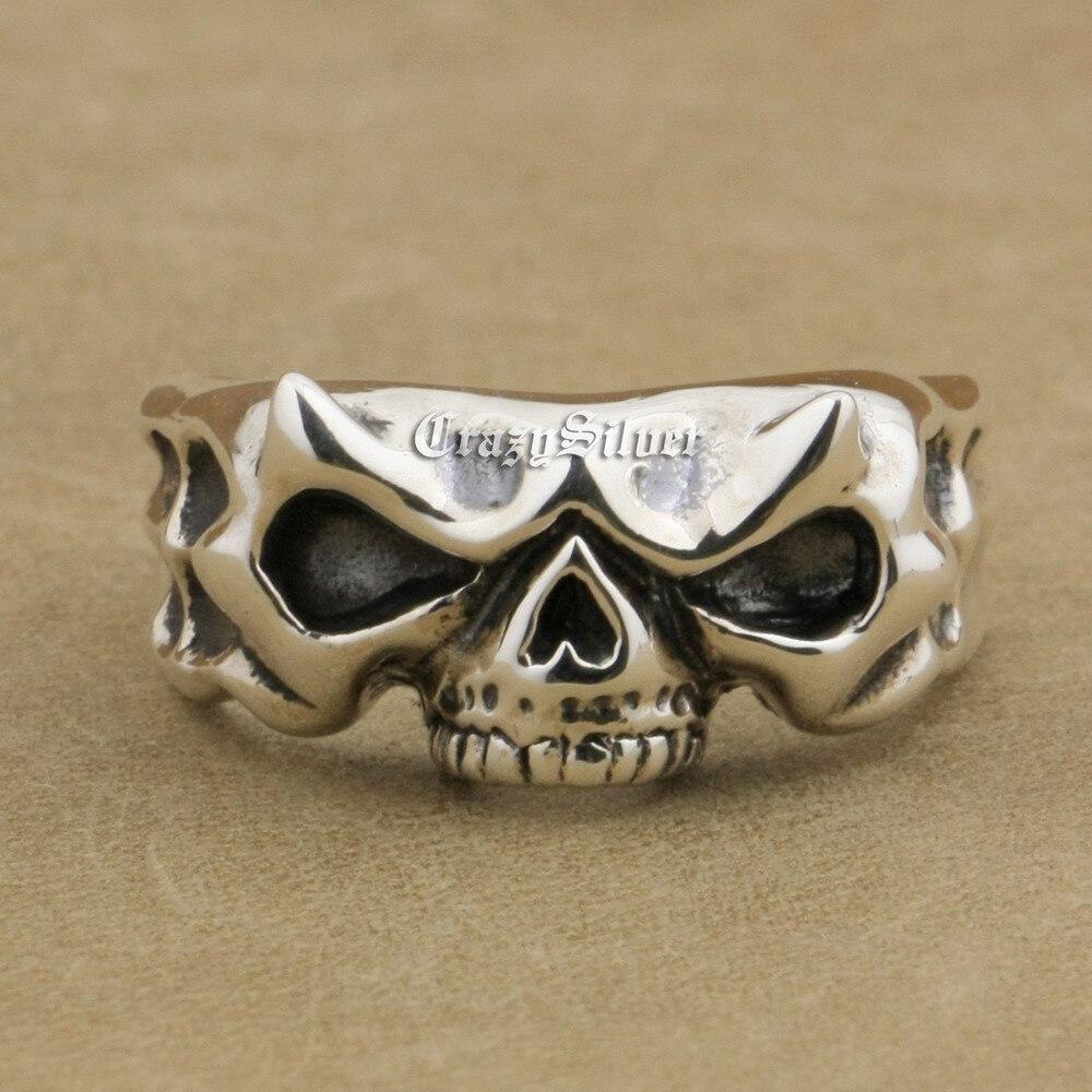 Brand LINSION 925 Sterling Silver Skull Ring 10mm Width Mens Biker Punk Ring TA14 US Size