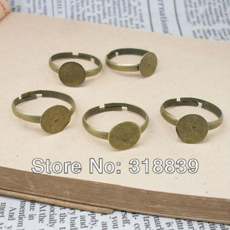50pcs/lot Vintage Simple Adjustable Ring Bases Jewelry Findings & Components 10mm Antique Bronze Cabochon Rings 6150