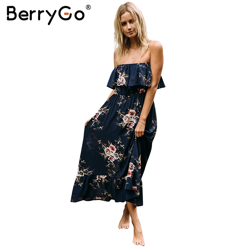 BerryGo Off Shoulder Floral Print Long Dress Women Ruffle