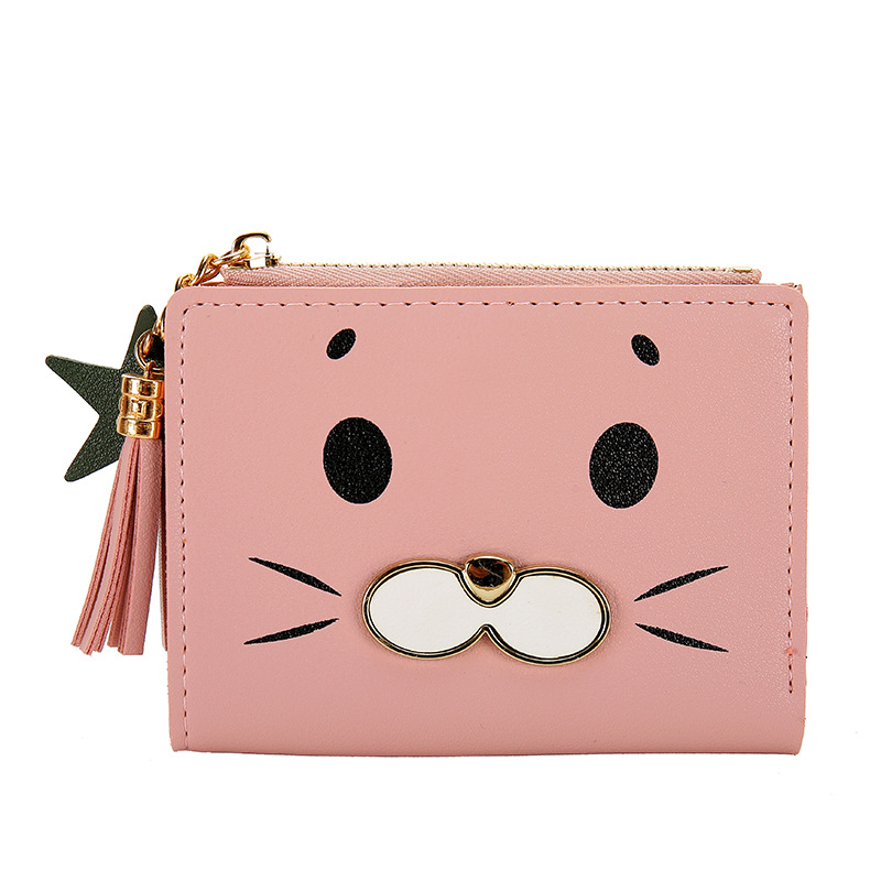2019 Cartoon Lovely Women's Wallet Zipper Lady Short Wallet Women Luxury Brand Leather Wallets Portefeuille Card Holder Carteras