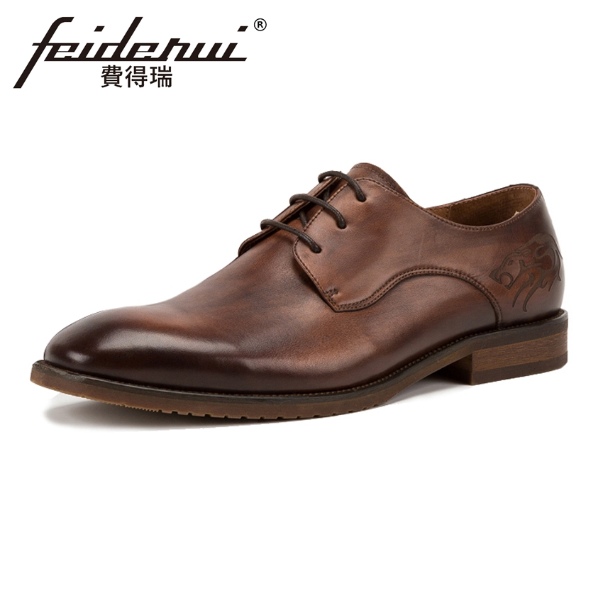luxury round toe breathable man formal dress shoes genuine leather derby carved oxfords famous men s bridal wedding flats gd78 Luxury Genuine Leather Men's Handmade Footwear Round Toe Lace-up Man Derby Wedding Flats Formal Dress Office Party Shoes KUD25