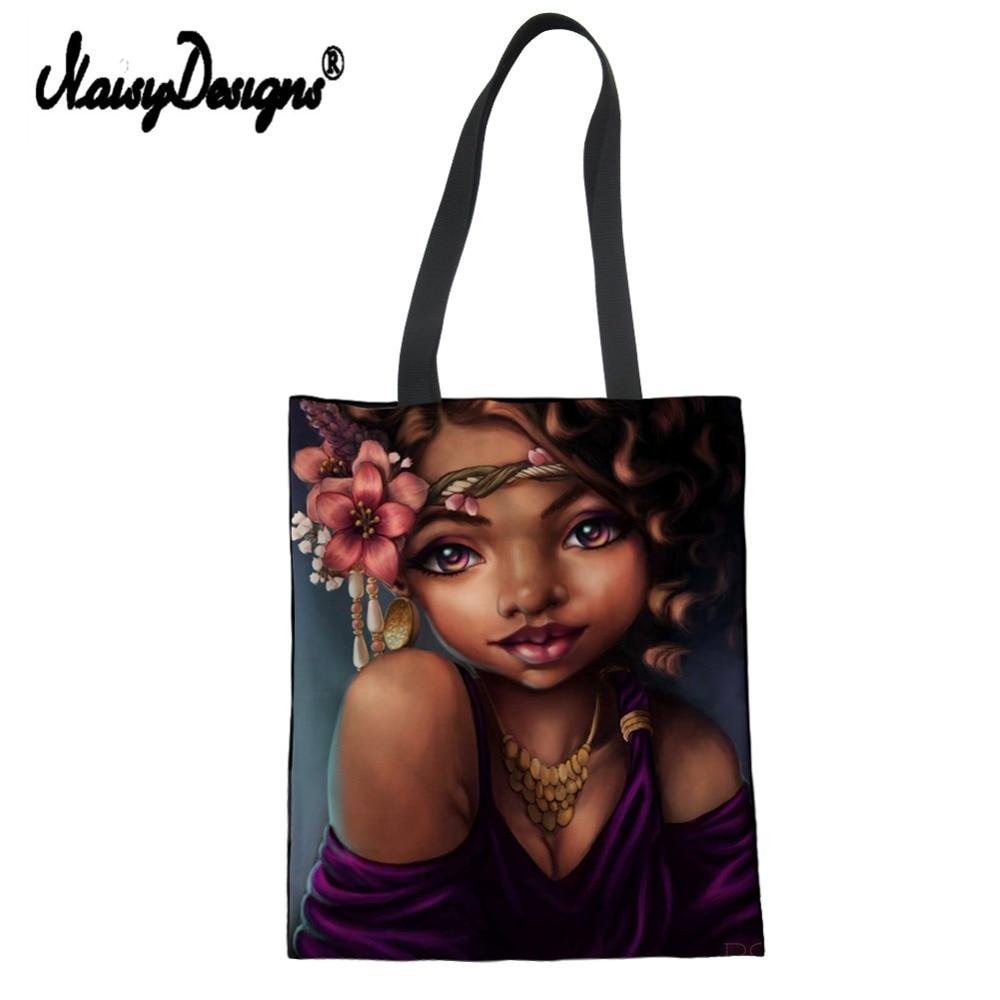 Noisydesigns Linen Canvas Women Tote Bag Bolsas Tela Eco Shoulder Shop Art Afro Lady Print Lady Beach Cotton Custom Bags Luxury