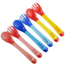 Baby Silicone Temperature Sensing Spoon Fork Safety Infant Feeding Flatware(China)