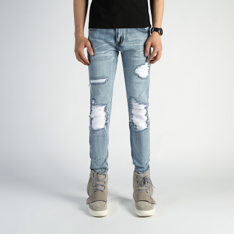 High Quality Fashion Jeans Men Distressed Slim Fit Skinny Jeans Casual Biker Jeans Men Denim Ripped Man Jeans Large Size 2016 high quality mens jeans blue color printed jeans for men ripped button jeans casual pants quality cotton denim jeans