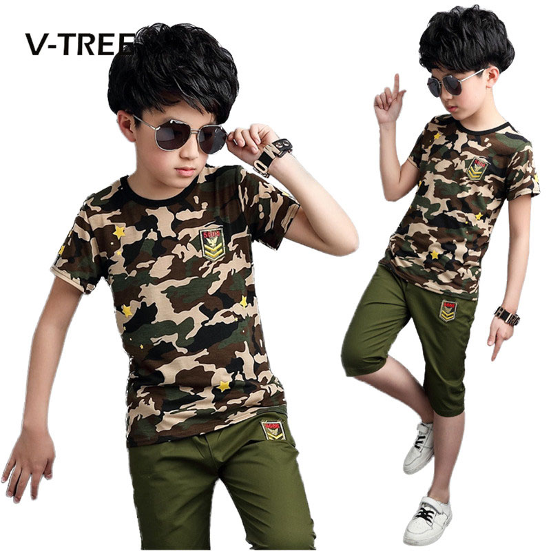 V-TREE Summer Boys Clothing Sets Camouflage Sports Suit Sets For Teenagers Boys Kids Children Fashion Tracksuit 2017 new boys clothing set camouflage 3 9t boy sports suits kids clothes suit cotton boys tracksuit teenage costume long sleeve