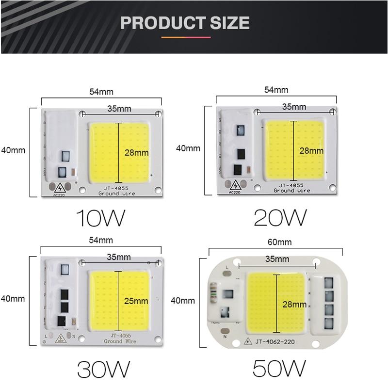 COB LED Puce 50W 220V 30W 20W 10W 3W Intelligent IC Pas Besoin Pilote - Accessoires d'éclairage - Photo 3