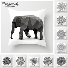 Fuwatacchi Floral Mandala Cushion Cover Black and White Painted Pillow Covers for Sofa Home Chair Elephant Decorative Pillows