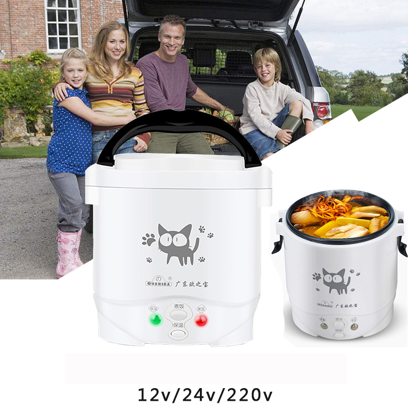 22%, Mini Reiskocher Elektrische Reis Maschine Nicht-stick Beschichtung Mit Dampfenden Korb Hause 220 V Oder Auto 12 V 24 V Genug Für 2 Personen