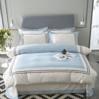 100%cotton white blue hotel queen size Bedding Set king size bed set bed cover soft Bedsheets Duvet quilt cover set 40