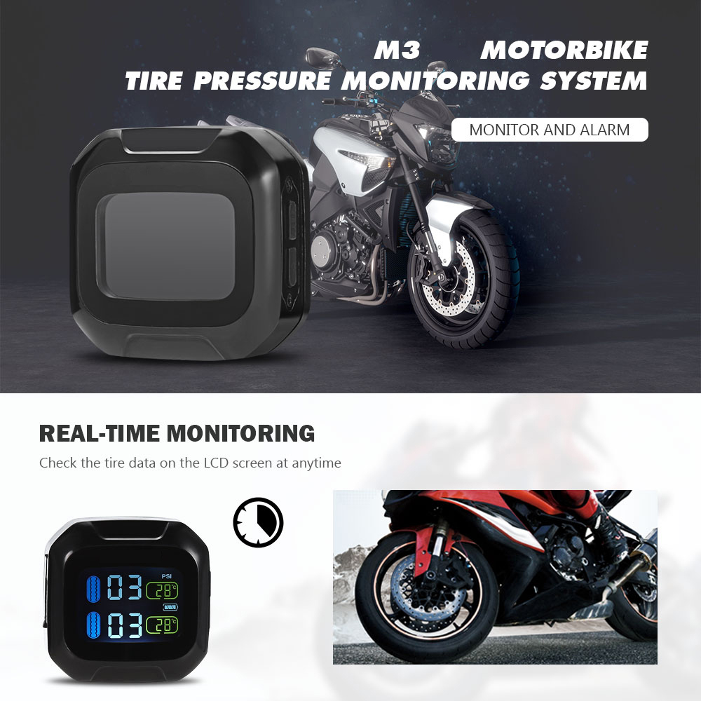 M3 Motorcycle TPMS Tire Pressure Monitoring System with 2 External Sensors 2units LCD Display Moto Security Alarm System BAR PSI