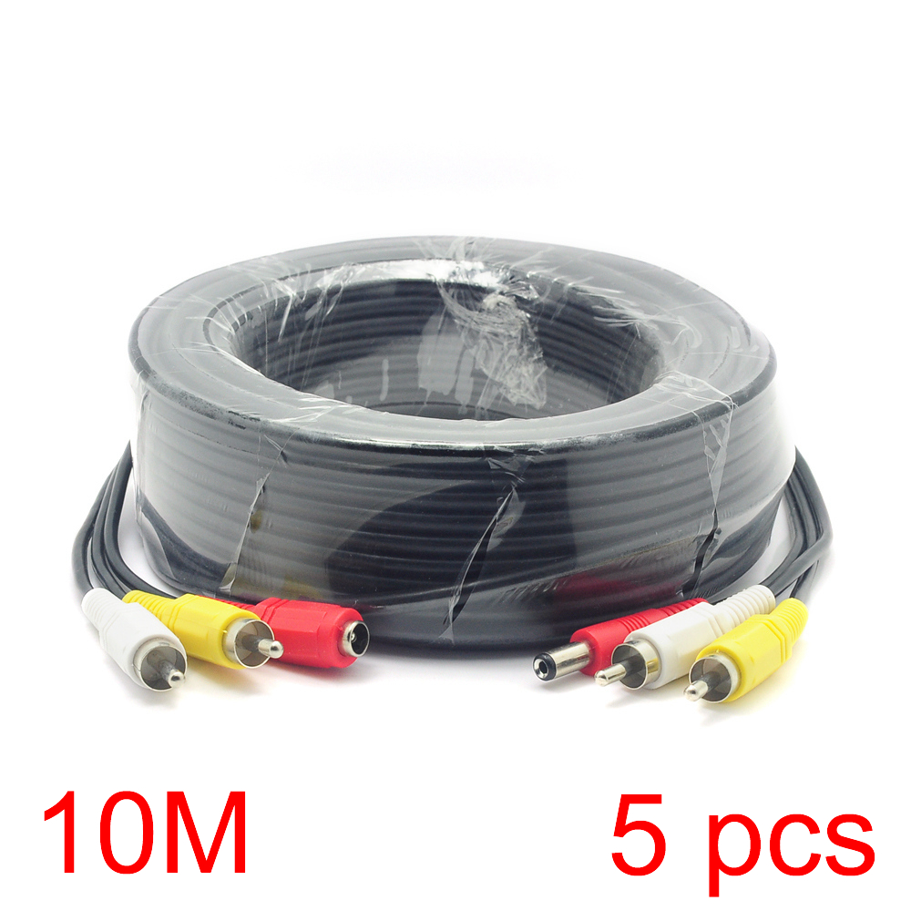 5x 10M/32FT 2 RCA DC Connector Audio Video Power AV Cable All-In-One CCTV Wire