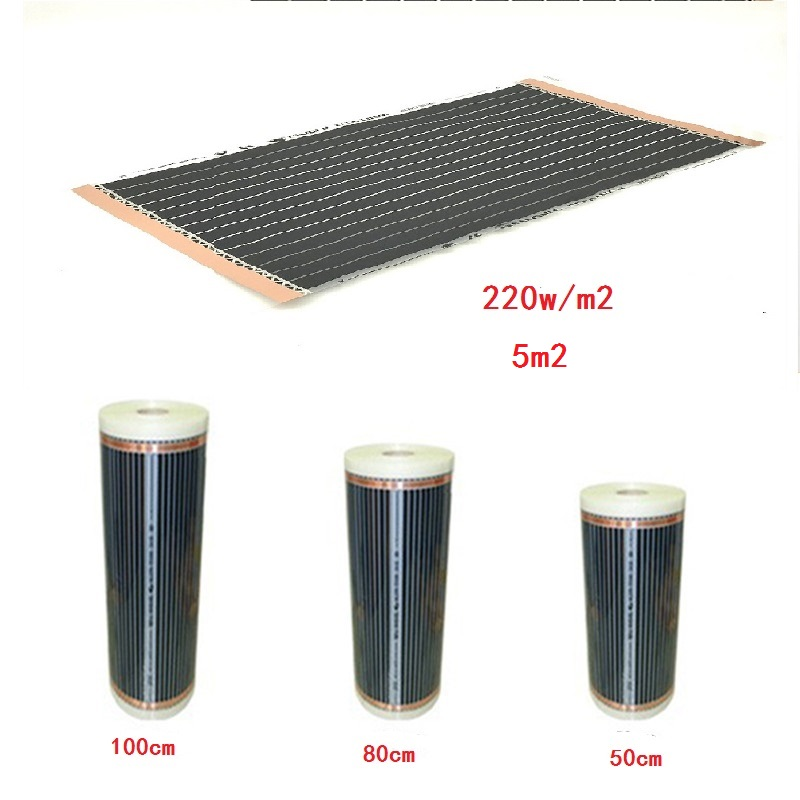 5 Square Meters Underfloor 220W m2 Heating Film Electric Infrared Warm Floor Width 50cm 80cm 100cm
