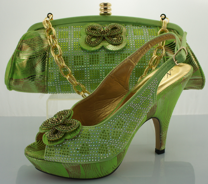 ФОТО 2016 Italian Fashion Shoes With Matching Bag Set Nice African shoes for Spikes heels ME0086 Lemon green for size 38-42