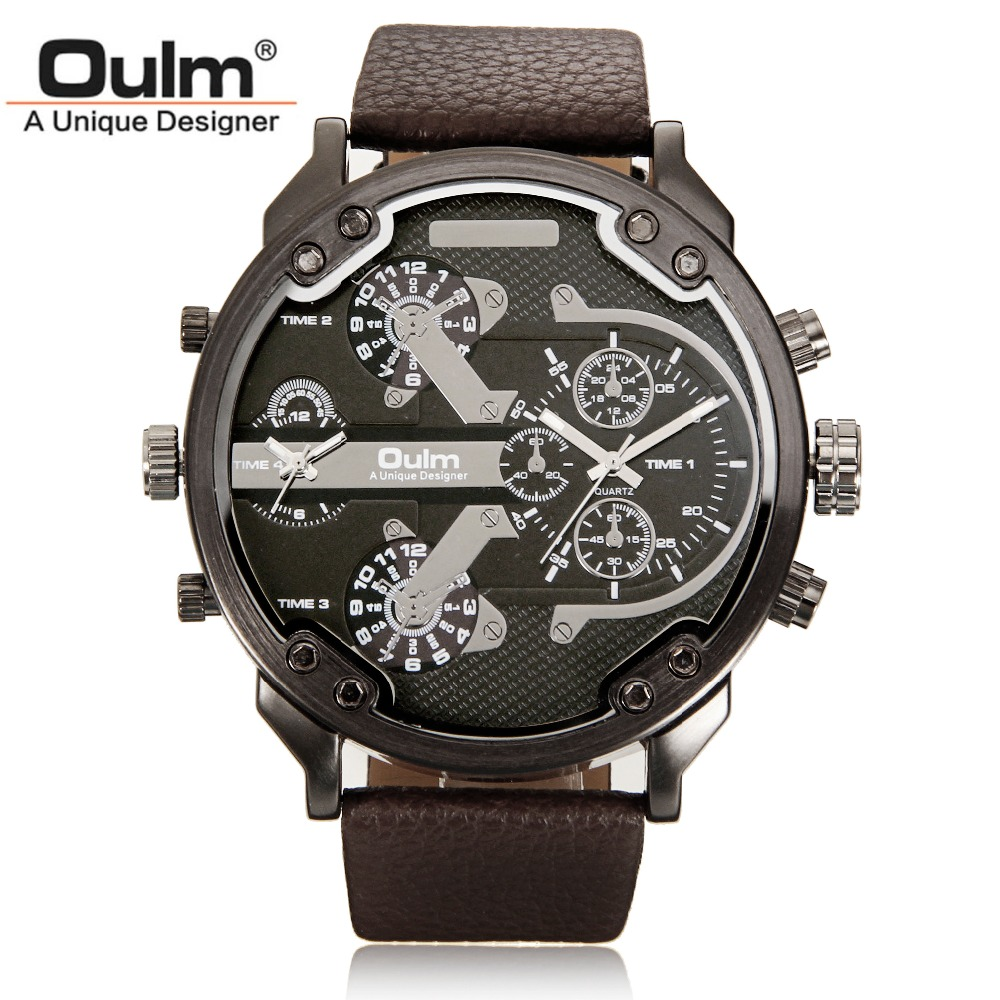 OULM Brand 3548 Mens Watch Luxury Famous Unique Designer Dual Time Quartz Watch Male Large Watches Men relogio masculino de luxo soki relogio masculino de luxo fashion mens quartz analog watches watch relogio masculino esportivo yh36