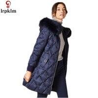 Брендовая пуховая куртка 2019 года, MS Ая с воротником из лисьего меха, белое пуховое пальто, женские зимние куртки