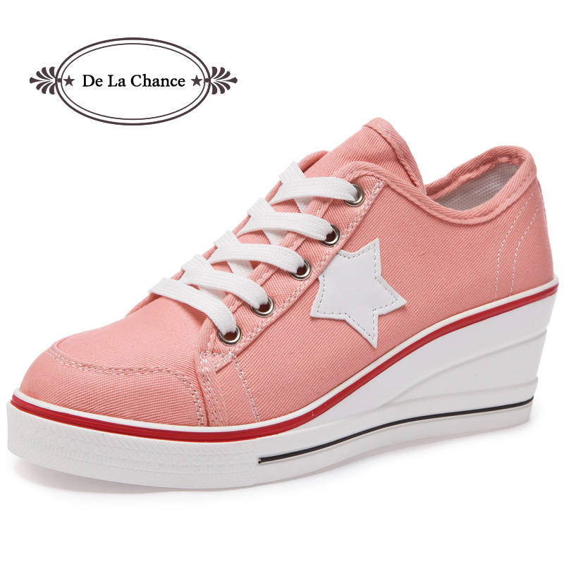 DE LA CHANCE 2018 Women Wedges Sneakers Shoes Women High Heels Casual Shoes Female Height Increasing Platform Women Canvas Shoes