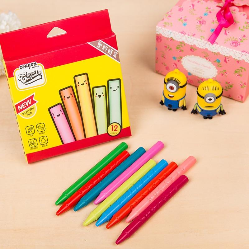 Детей Краски кисти 12 цветов карандаш круговой пластик нетоксичный цвета пера мизинце принадлежности для рисования детский сад стереть