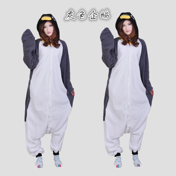 adult Grey color cartoon Antarctic penguins Onesies Cosplay Costumes Polar fleece Winter Pajama Halloween costume for baby girls