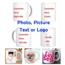 DIY بها بنفسك صور القهوة القدح الطباعة صورة مخصصة 11OZ الأبيض السيراميك أكواب قهوة للسفر شخصية نص مضحك أكواب فنجان شاي هدية القدح