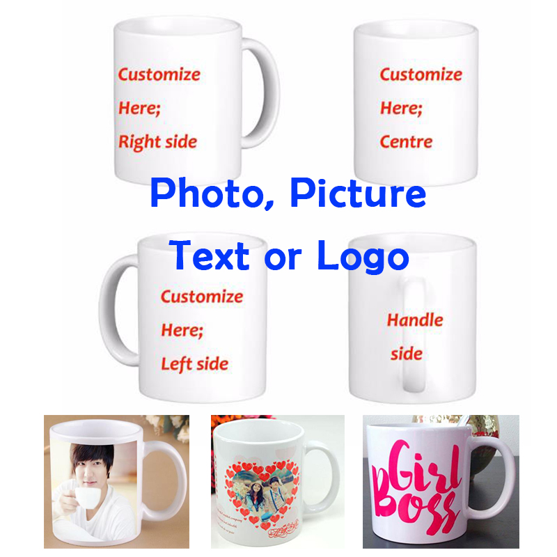 DIY Photo Coffee Mug Printing Custom Picture 11OZ Valkoinen keraaminen matka Kahvi Mukit Henkilökohtainen teksti Hauska Mukit Teekuppi Lahja Muki