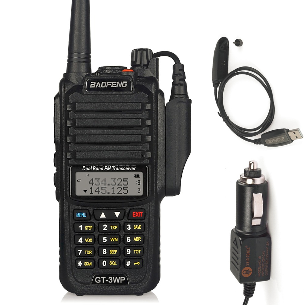 Baofeng GT-3WP IP67 Waterproof Dual-Band 2M/70cm Ham Two-way Radio Walkie Talkie + Programming Cable+ Car Charge Cable