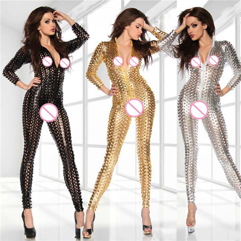 Gold Silver Black Adult Women Hole Sexy Bodysuit Shiny Leather Latex Catsuit DJ Dance Costume Fetish Clubwear PVC Jumpsuit