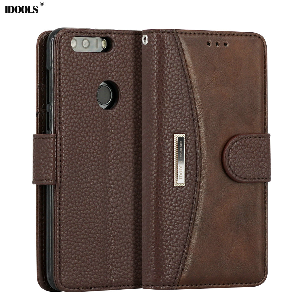 IDOOLS For Huawei Honor 8 <font><b>Case</b></font> PU Leather Dirt Resistant Silicon Protective Cover Wallet <font><b>Phone</b></font> Bags <font><b>Cases</b></font> for Huawei Honor 8