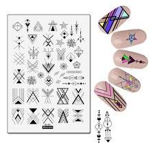 Large Nail Stamping Plate Geometric Theme Plaids Stripe Shape Splice Image Art Design Kits Manicure Template
