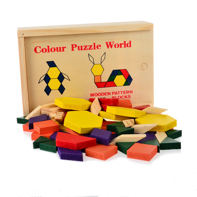 wooden toys intelligence 60 piece tangram puzzle box toys children ability cognitive graphics geometry