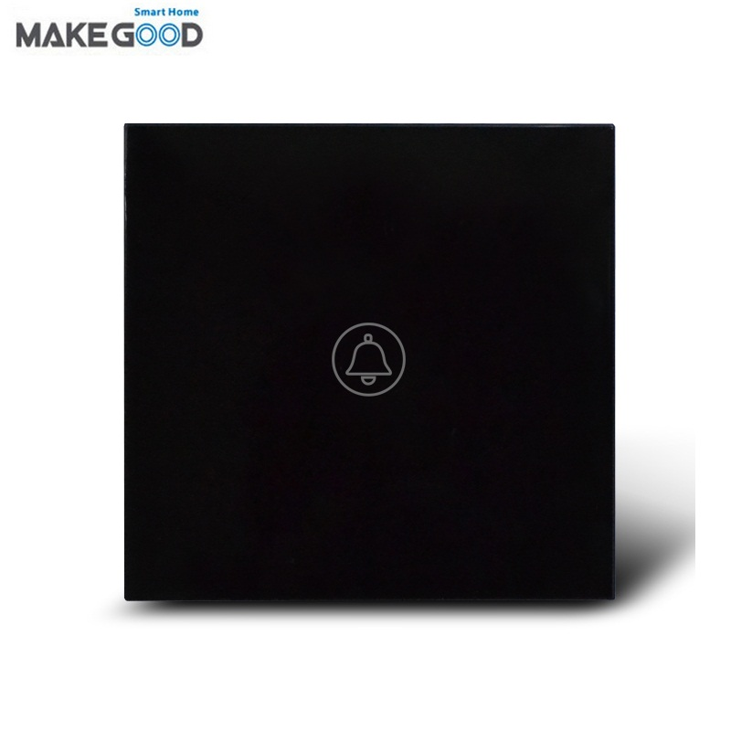 MakeGood UK Standard 1 Gang 1 Way Crystal Glass Panel Touch Switch, Ding-dong Doorbell Switch with Waterproof, AC120-240V -black makegood uk standard touch switch 3 gang 1 way crystal glass panel wall switch for smart home ac110 240v led indicator