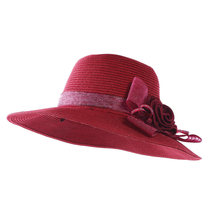 Kajeer Wine Red Boho Style Casual Summer Hat For Women Big Bows Straw Hat  Sun Hat 10d86d7467b