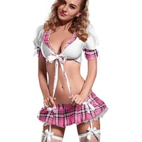 2015 Top Sale Cosplay Student Costume For Women Adult Game Pajamas Sexy Lingerie Plaid Nightwear Good