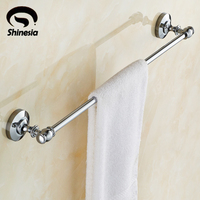 High Quality Chrome Polished Bathroom Single Towel Bars Solid Brass Towel Rack Wall Mounted