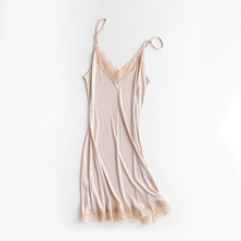 2018 spring and summer silk loose v neck lace ruffles spaghetti straps nightgown sexy female full slip solid