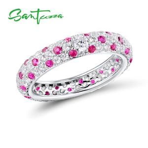 Image 2 - SANTUZZA Silver Rings For Women Pure 925 Sterling Silver Multi color CZ Ring Stackable Eternity Ring Trendy Fashion Jewelry