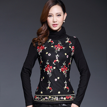 2016 Spring Winter Warm Lace Shirt Embroidery Designs Plus Size Casual Thicken Corduroy Turtleneck Female Basic Black Blouses