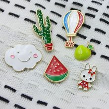 Lucu Enamel Pin Bros Kaktus Jaket Hello Kitty Lencana Dekorasi Pin Apple Monyet Sky Balloon Fashion Perhiasan Kartun untuk Anak(China)