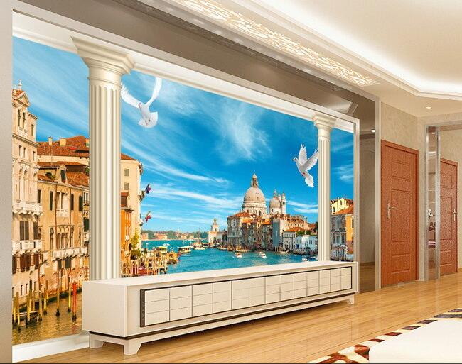 3d wallpaper custom mural non-woven Wall stickers 3 d landscape setting wall of Venice paintings 3d photo wall mural wallpaper merchant of venice the