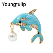 Young Tulip 2018 New Blue Dolphin Pins Imitate Pearl Crystal Brooch Fashion Jewelry for Women Jean T-shirt Accessories Good Gift(China)