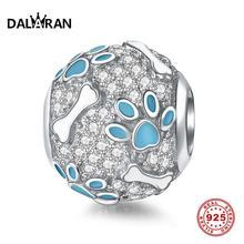 DALARAN Blue Bone Footprint Charms 925 Sterling Silver Beads Fit DIY Bracelet Necklace For Jewelry Making Handmade Women Gift