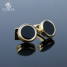 TOMYE Gold Round Cuff Links Custom Groom High Quality and Saudi Arabia Cufflinks for Men XK19S079
