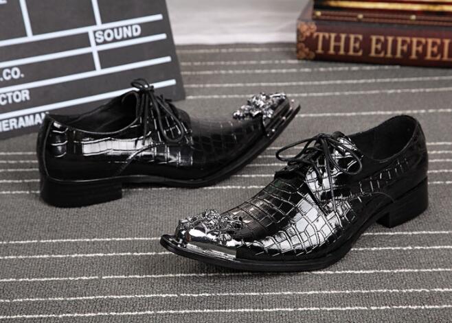 Hombres As Pic Cuero Dedo De Primavera Del otoño Metal Pie Moda Negro Zapatos Decoración Europea Los Negocios Encaje Vestir qxEwnBTnS