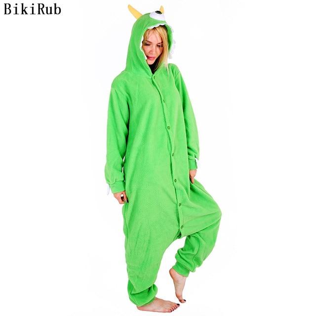 Women Hooded Pajamas Female Fleece Sleepwear Girls Cute Monocular Monster Cartoon Pyjamas Winter Kigurumi Animal Pajama Set