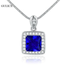 GULICX New Fashion Square CZ Pendant Necklace For Women Blue/Red/Green Stone Silver Color Female Pendants Wedding Jewelry GLP003(China)
