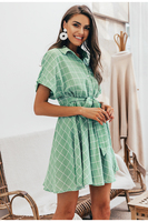 Vestido corto verde cuadros manga corta verano 1