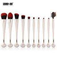 MAANG New 6 10pcs Shell Shape Cosmetic Makeup Brush Blusher Eye Shadow Brushes Set Kit Limpiador