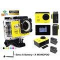 HD 1080 P Mini Ação Câmeras wi-fi Câmera de Esportes de 170 Graus Lente Grande Angular À Prova D' Água DV Filmadora Mini 2 pcs battey + Monopé