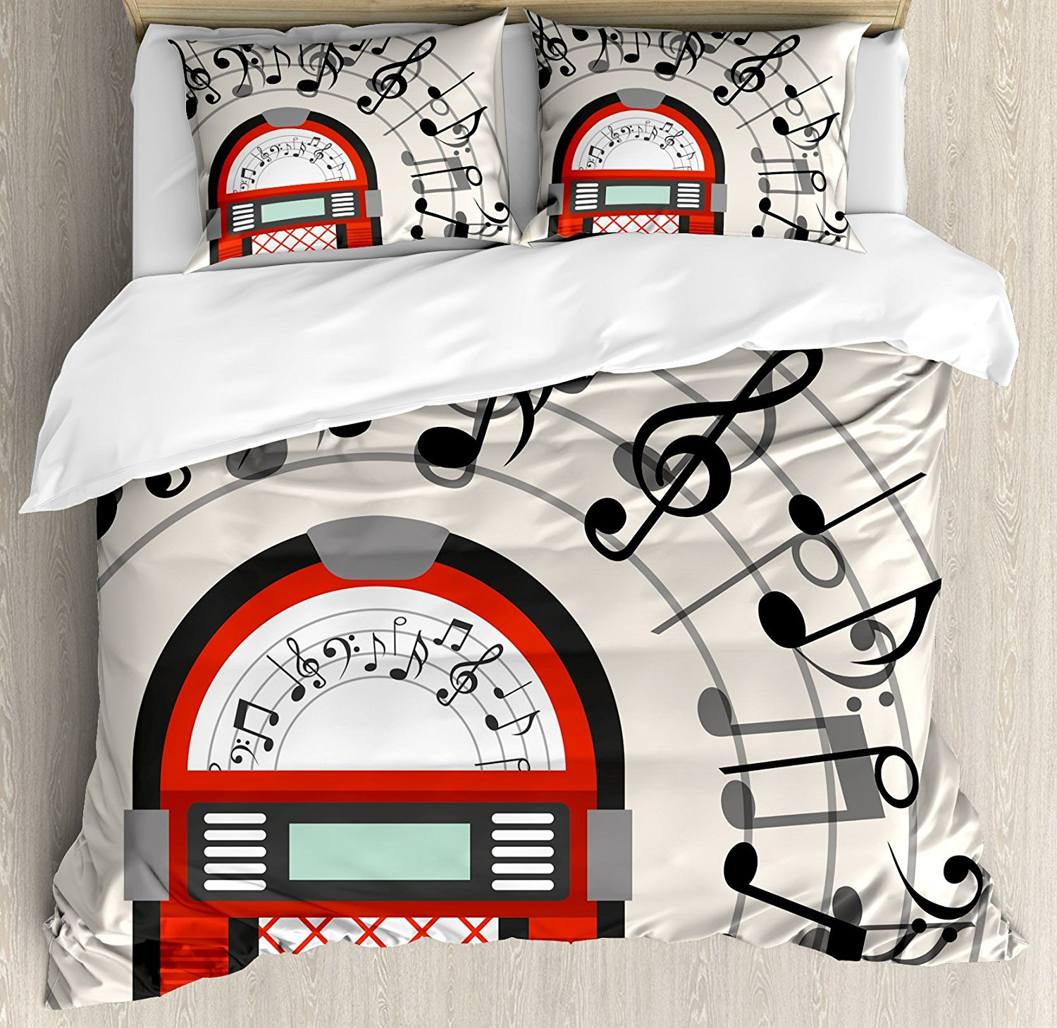 Jukebox Duvet Cover Set Cartoon Antique Old Vintage Radio Music Box Party with Notes Artwork, 4 Piece Bedding Set