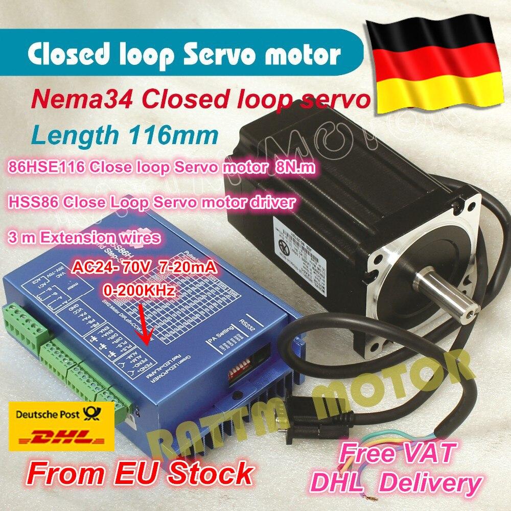 DE Freies MEHRWERTSTEUER Nema34 L-116mm Closed Loop Servomotor 6A Geschlossen schleife 8N. m & HSS86 8A Hybrid Step-servo 4-achsen-cnc-controller-treiber Kit