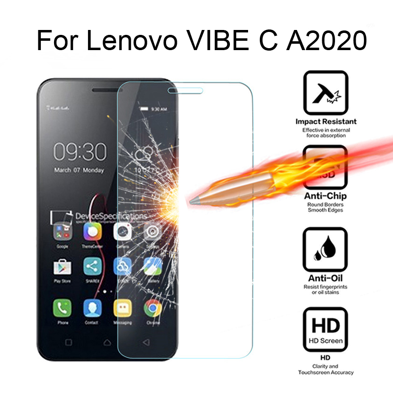 For Lenovo Vibe C A2020 A2020a40 DS A 2020 5.0 inch Tempered Glass cover Screen Protector for Vibe C A2020 Protective Film case